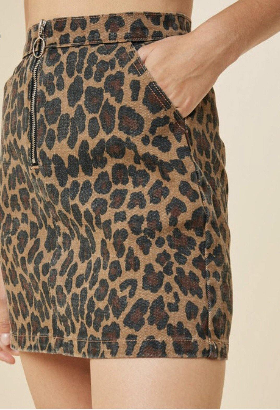 LILLIANA LEOPARD PRINT SKIRT - elbie boutique, LLC