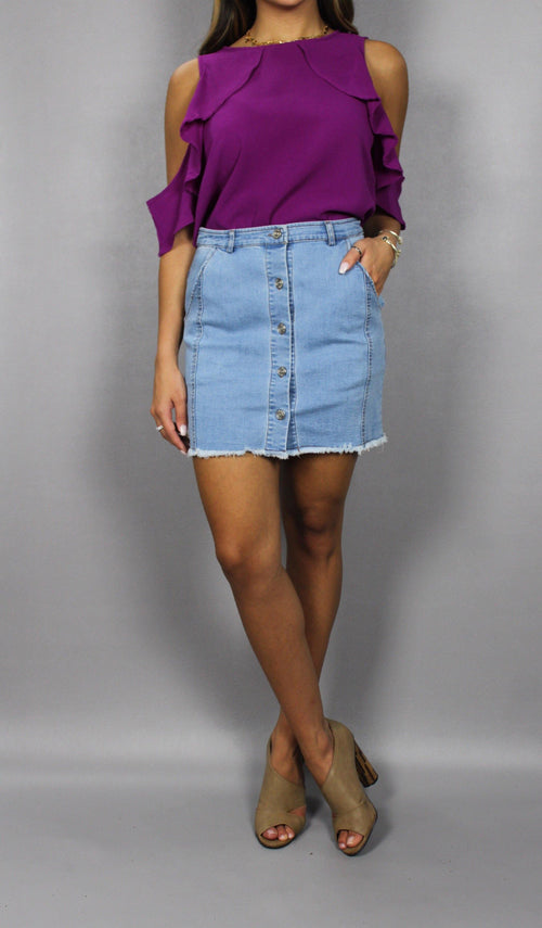 ALLISON DENIM SKIRT - elbie boutique, LLC