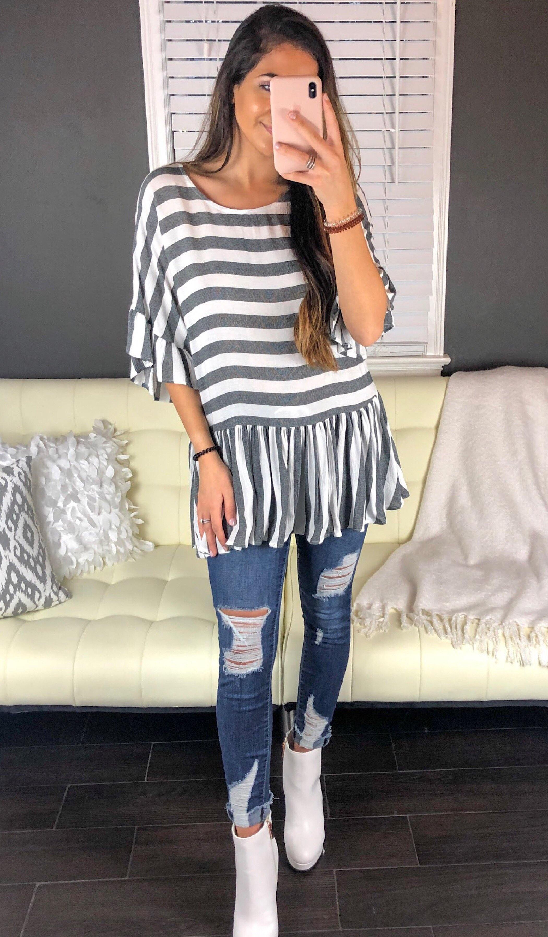 CAMMIE STRIPE TUNIC TOP - elbie boutique, LLC