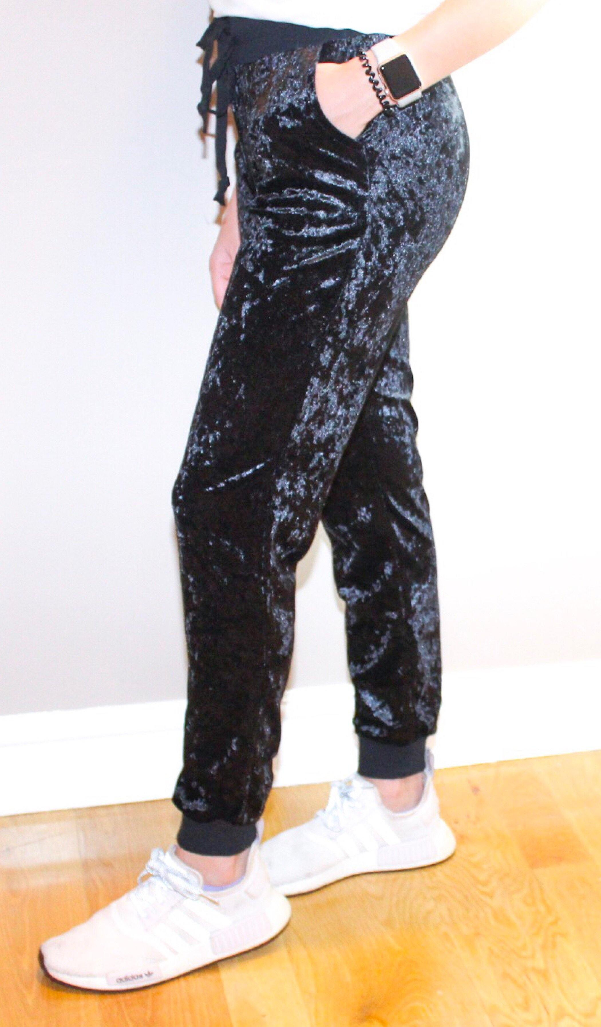 KATE CRUSHED VELVET JOGGERS - elbie boutique, LLC