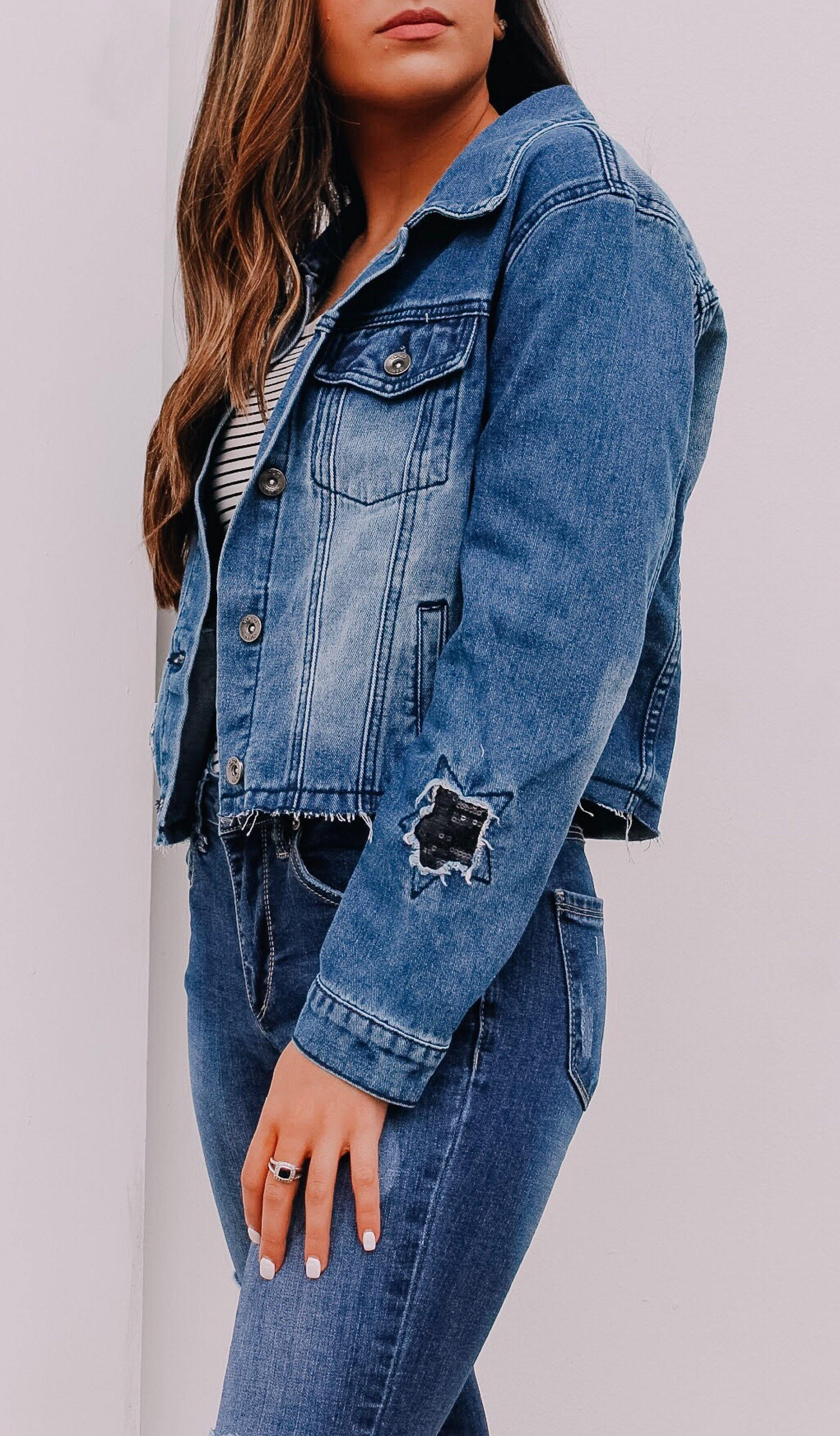 STARRY NIGHT DENIM JACKET - elbie boutique, LLC