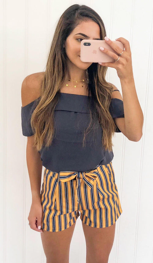 STRIPED SHORTS (MUSTARD/NAVY) - elbie boutique, LLC