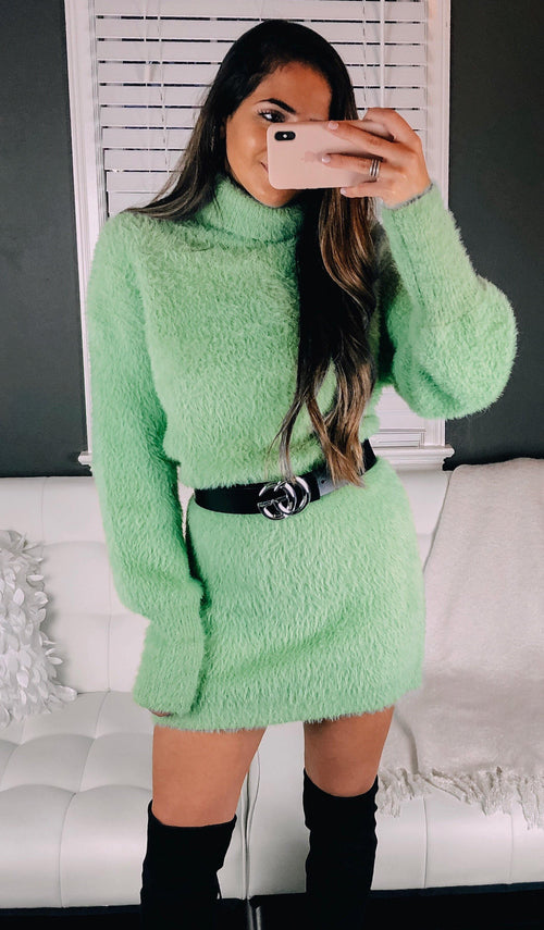 ALEX FUZZY SWEATER DRESS - elbie boutique, LLC