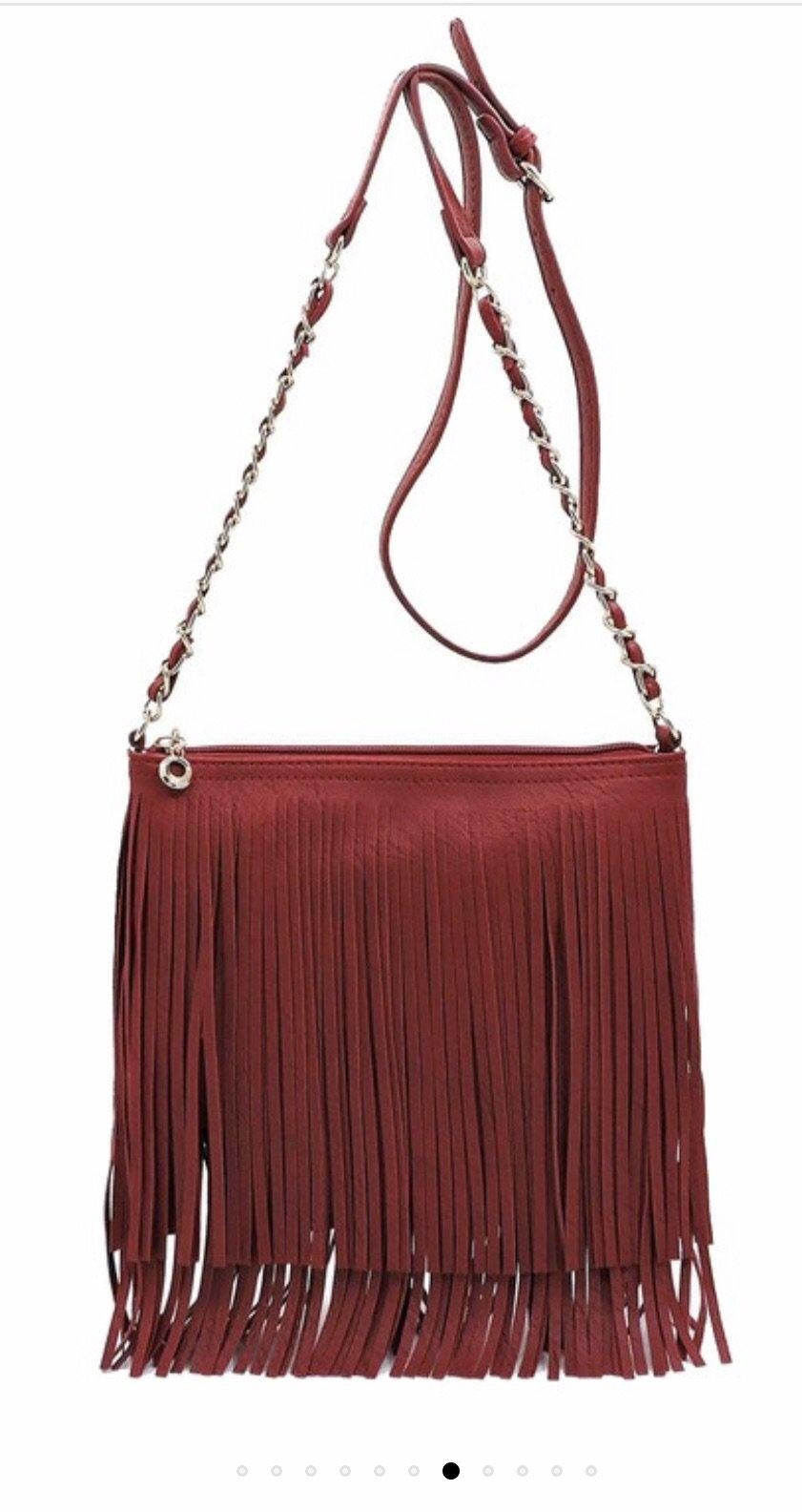 FRINGE CROSSBODY BAG (WHITE, DEEP RED LIPSTICK, PEWTER, TAN)