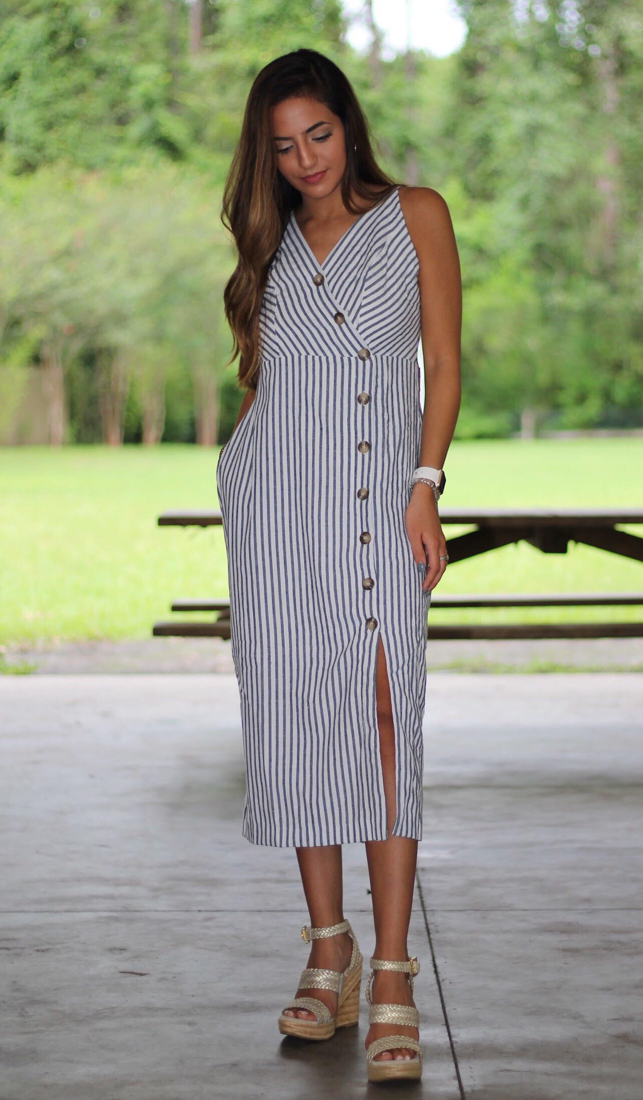 KINSLEY STRIPED MIDI DRESS - elbie boutique, LLC