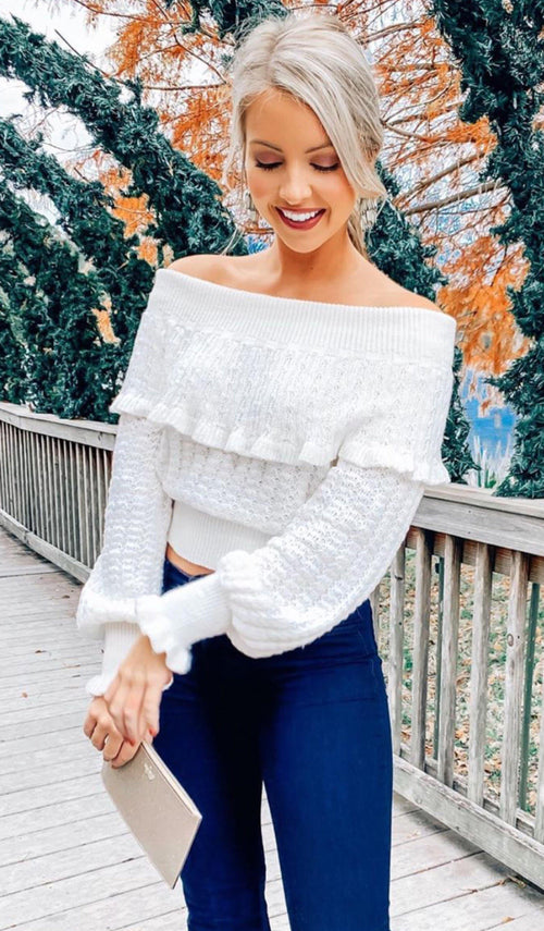 LUISA OFF SHOULDER SWEATER - elbie boutique, LLC