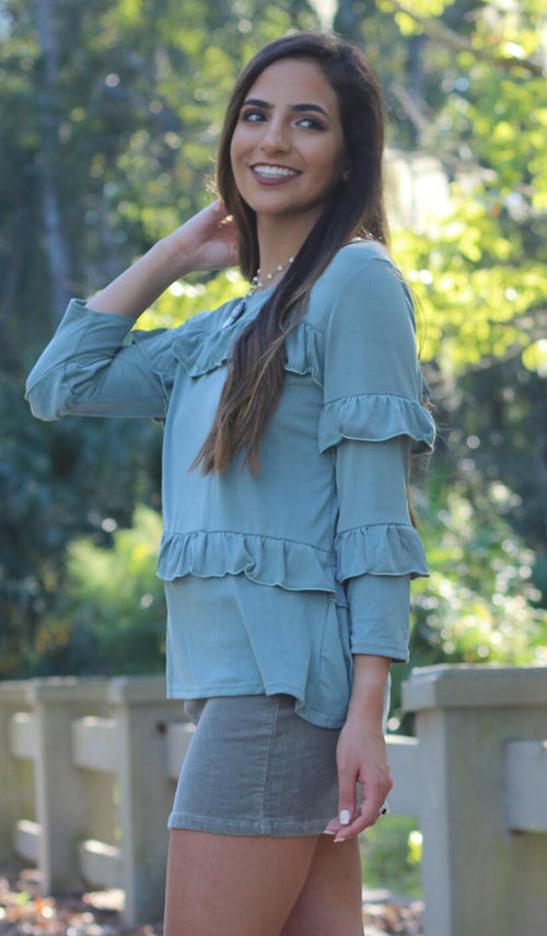 MILA RUFFLE TOP - elbie boutique, LLC