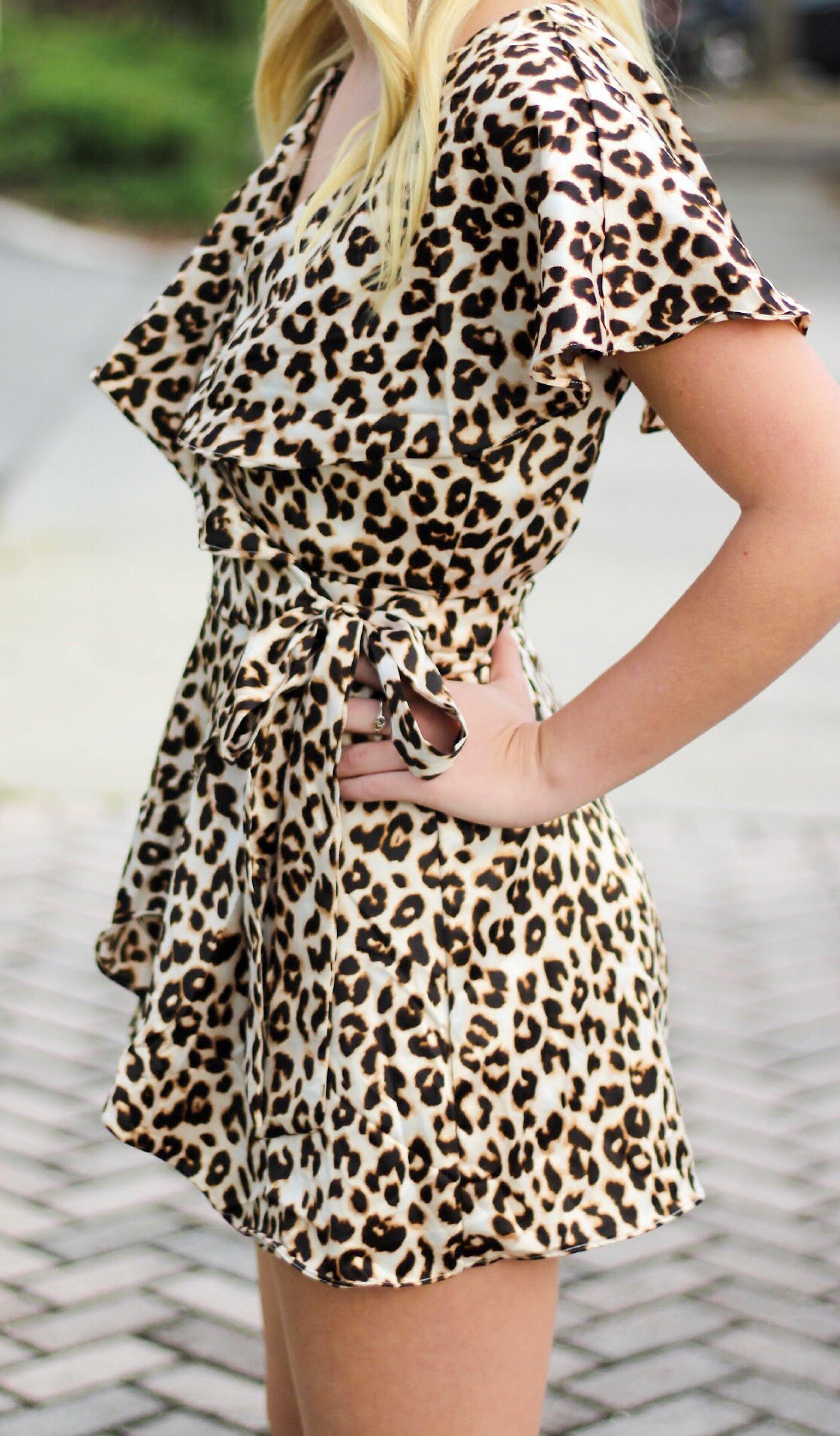 SATIN LEOPARD WRAP ROMPER - elbie boutique, LLC