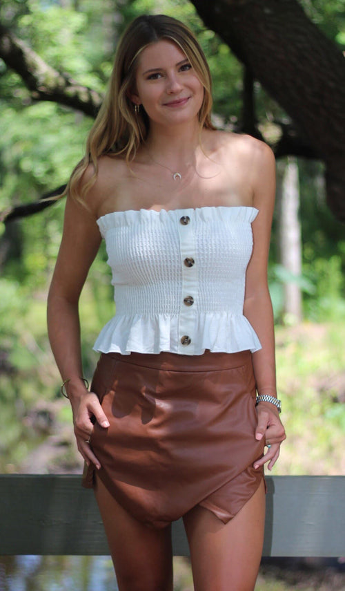 LINEN CROP (IVORY) - elbie boutique, LLC