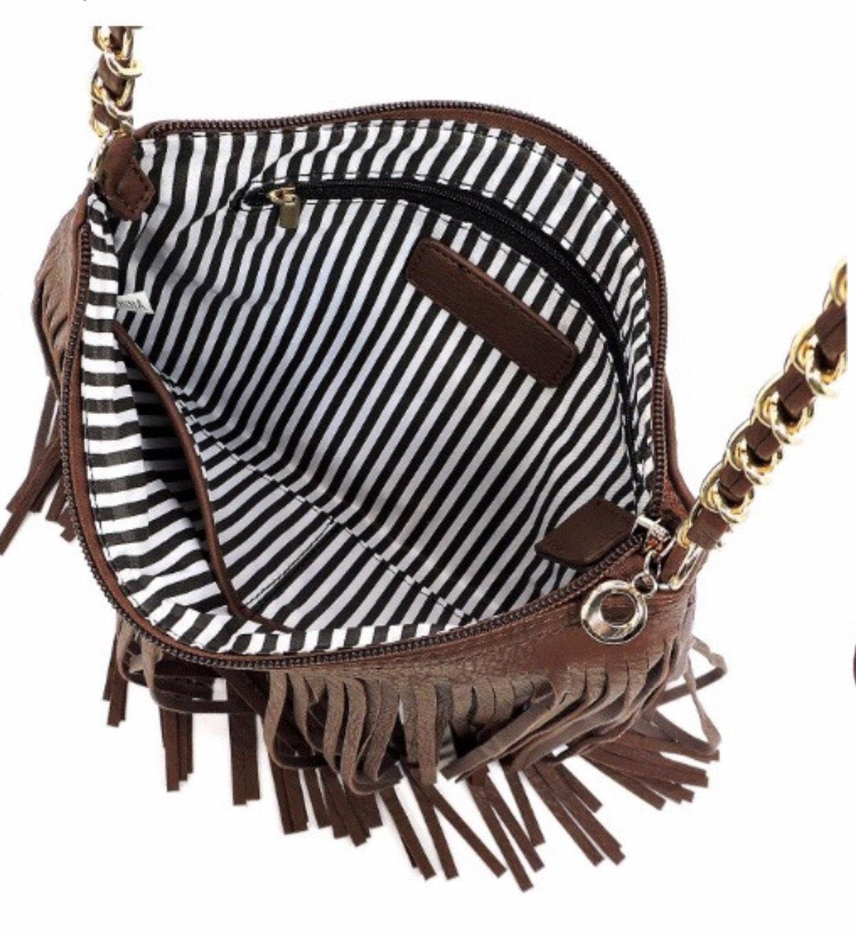 FRINGE CROSSBODY BAG (WHITE, DEEP RED LIPSTICK, PEWTER, TAN) - elbie boutique, LLC