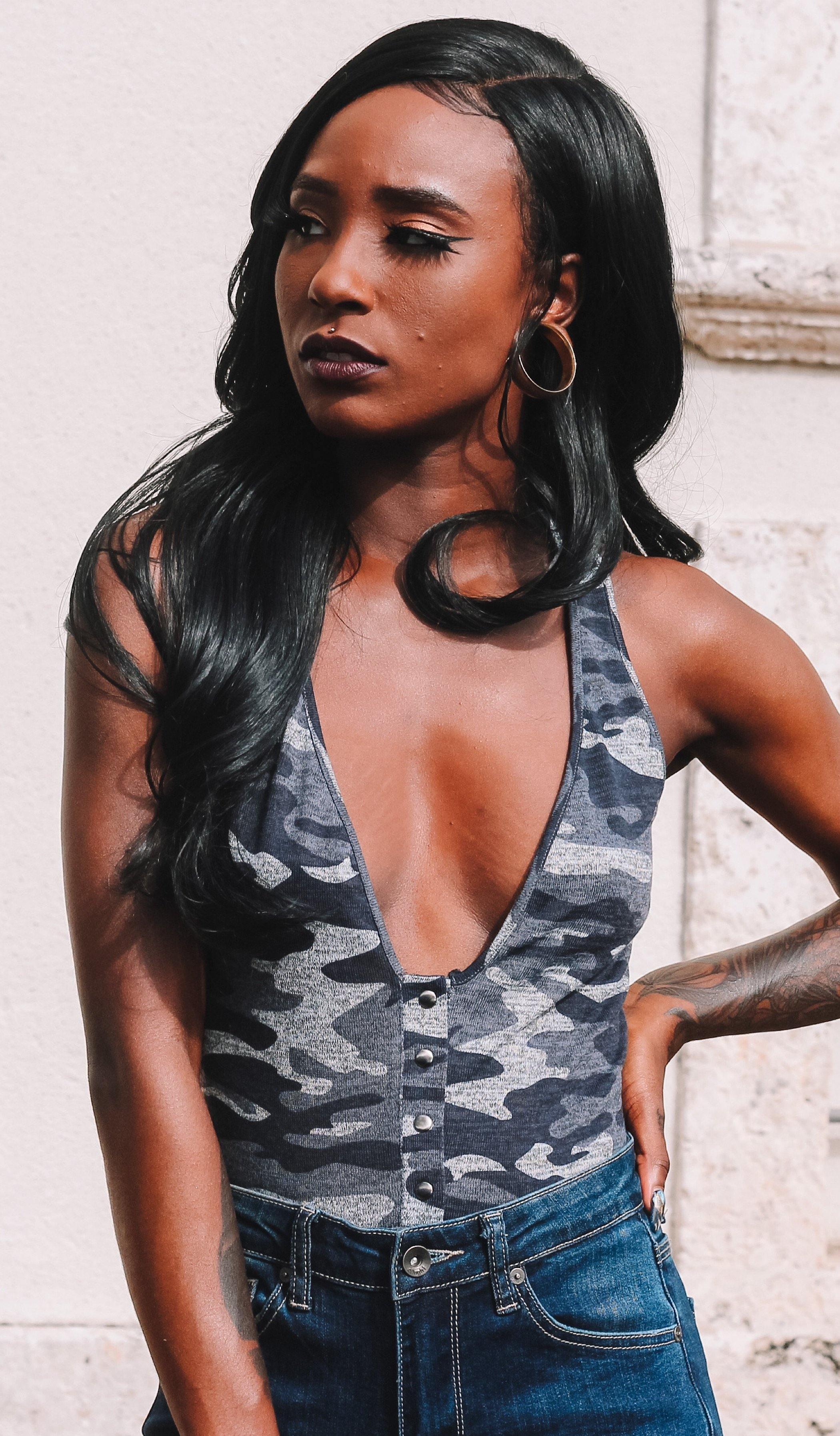 EMY CAMO BODYSUIT - elbie boutique, LLC