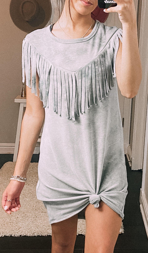Forever Fringe Mineral Wash Dress