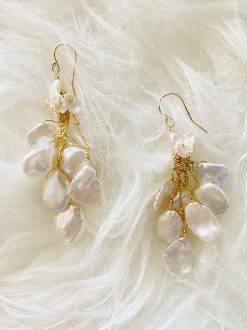 KESHI PEARL WATERFALL EARRINGS - elbie boutique, LLC