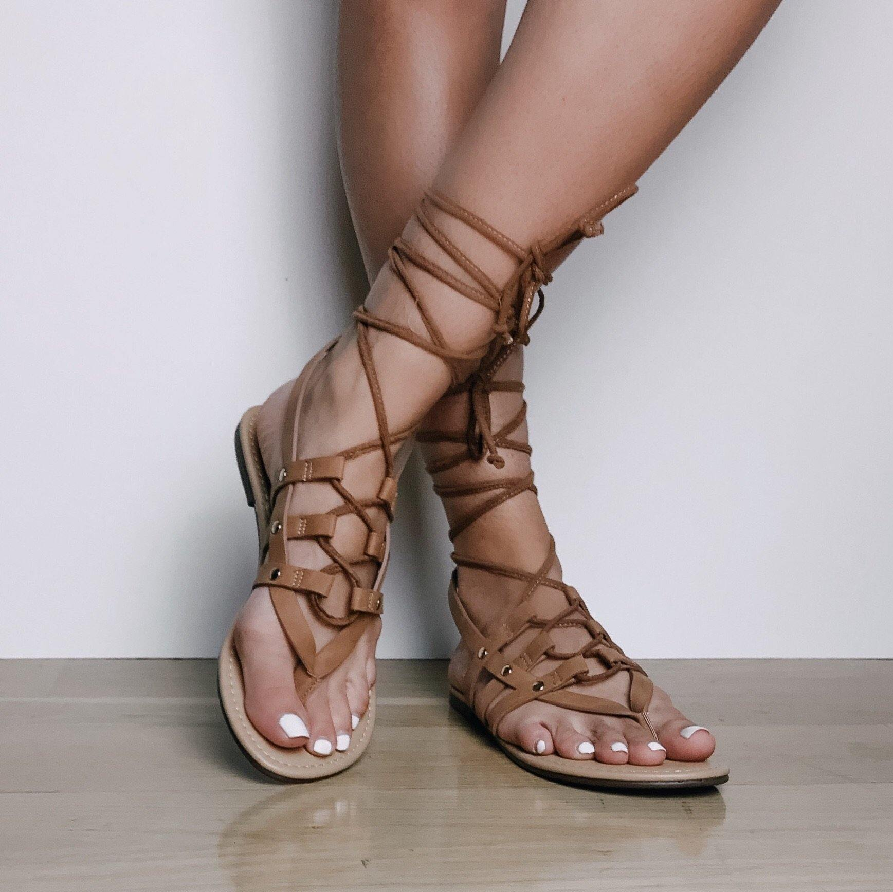 TILLIE LACE-UP SANDALS - elbie boutique, LLC