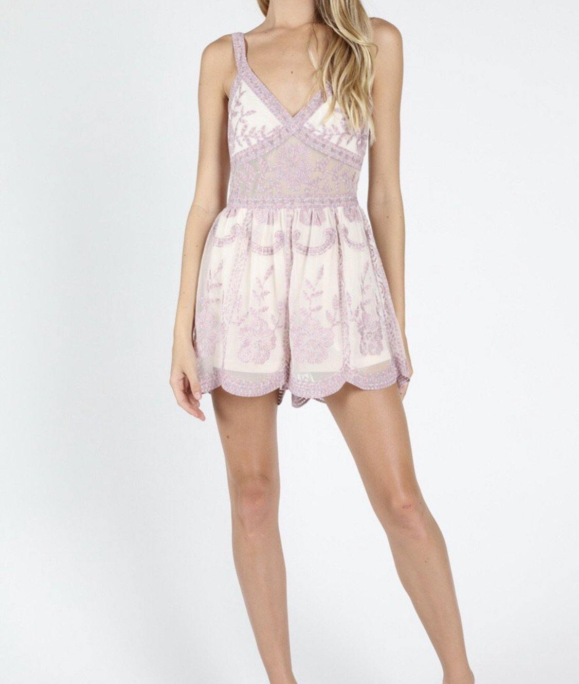 LILIANNA LACE EMBROIDERED ROMPER - elbie boutique, LLC
