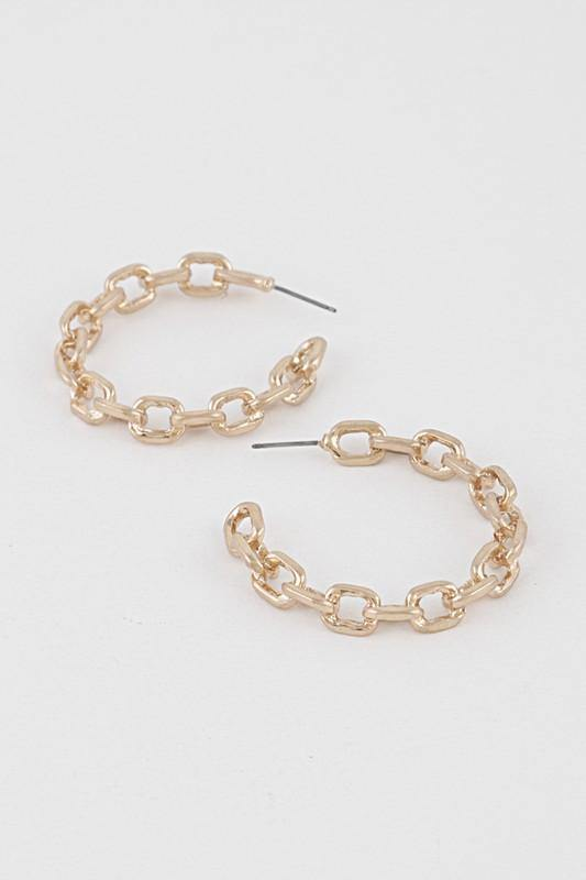 CHAIN HOOP EARRINGS - elbie boutique, LLC