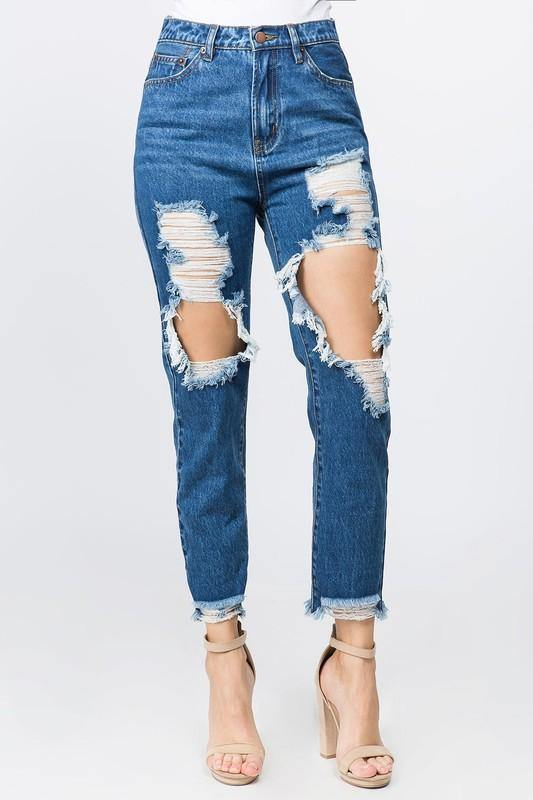 HIGH WAIST RIPPED CROPPED BOYFRIEND JEANS - elbie boutique, LLC