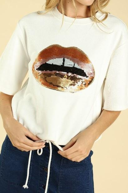 SEQUIN LIPS SWEATSHIRT