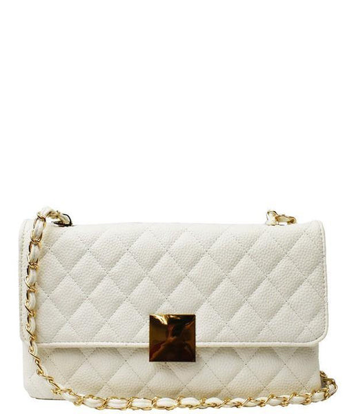 QUILTED CHAIN SHOULDER HANDBAG (WHITE)