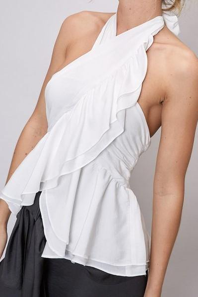White Ruffle Halter Top