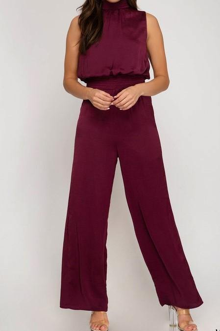 MERLOT JUMPSUIT - elbie boutique, LLC