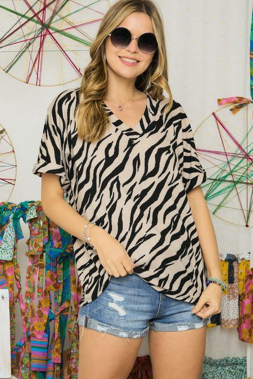 Sandy Zebra Print V-Neck Top