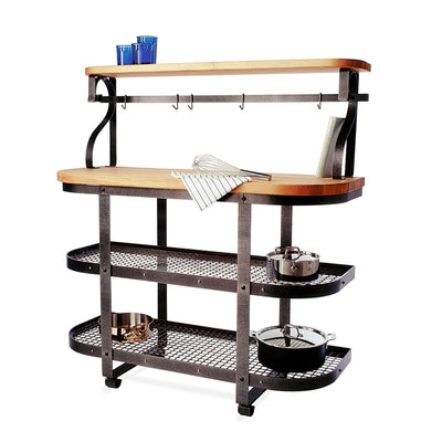 Baker‰۪s SideShelf Hammered Steel w/ Eastern Maple Butcher Block - Enclume Design Products