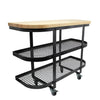 Baker‰۪s SideShelf Base Hammered Steel w Eastern Maple Butcher Block - Enclume Design Products