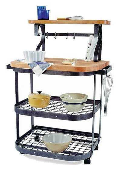 Baker‰۪s Cart Hammered Steel w/ Eastern Maple Butcher Block - Enclume Design Products