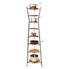 8-Tier Gourmet Hourglass Cookware Stand w/ Alder Shelves Hammered Steel - Enclume Design Products