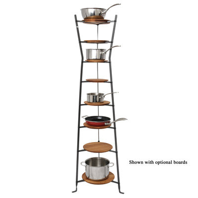 8-Tier Gourmet Hourglass Cookware Stand Hammered Steel - Enclume Design Products