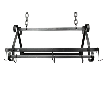 Compact Scrolled Rack w/ 12 Hooks Hammered Steel