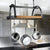 Decor Oval Ceiling Pot Rack w/Alder Shelf in Hammered Steel