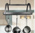 Decor Oval Ceiling Pot Rack w/ 12 Hooks in Hammered Steel