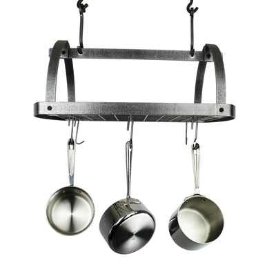 Decor Oval Ceiling Pot Rack w/ 12 Hooks Hammered Steel - Enclume Design Products