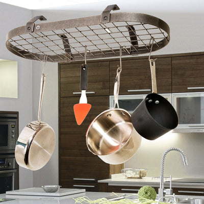 Low-Ceiling Classic Oval w/ 12 Hooks Hammered Steel - Enclume Design Products