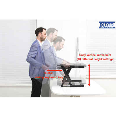 DTD Height Adjustable Standing Desk Converter Medium Beech