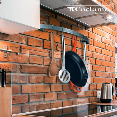 Curved Wall Rack Utensil Bar w 6 Hooks - Enclume Design Products