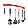 Designer Curved Wall Rack Utensil Bar w Hooks - Accent Colors