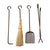 Long Fireplace Tools Only 4-Pieces Hammered Steel