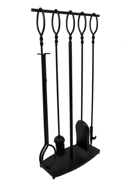 Habitat 4 Pc Twist Top Fireplace Tool Set Black - Enclume Design Products