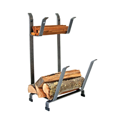 Fireplace Log Rack w/ Kindling Holder Hammered Steel - Enclume Design Products