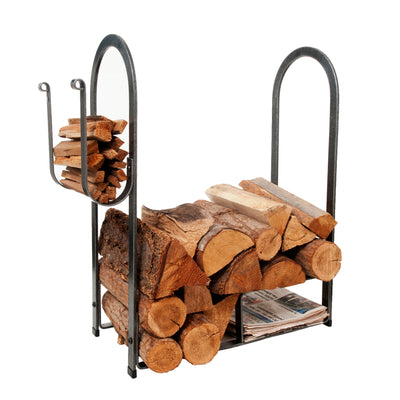 Large Fire Center Log Rack Hammered Steel - Enclume Design Products