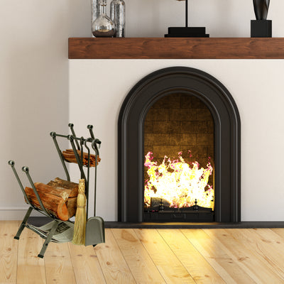 Front Loading Fireplace Log Rack w/ Tools Hammered Steel - Enclume Design Products