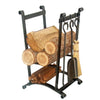 Compact Curved Fireplace Log Rack w/ Tools Hammered Steel