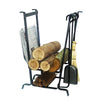 Complete Hearth Fireplace Log Rack w/ Tools Hammered Steel - Enclume Design Products