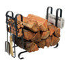 Large Modern Fireplace Log Rack w/ Tools Hammered Steel - Enclume Design Products