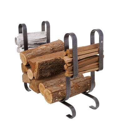 Large Modern Fireplace Log Rack  Hammered Steel