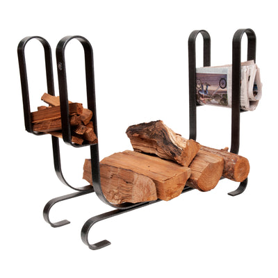 Large Modern Fireplace Log Rack  Hammered Steel - Enclume Design Products