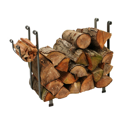 Indoor/Outdoor Large Rectangle Fireplace Log Rack Hammered Steel - Enclume Design Products